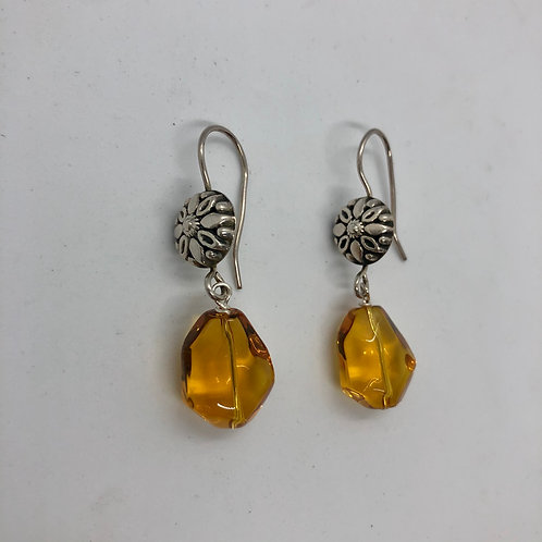 Sterling silver ornate floral hooks with amber glass dangles #5