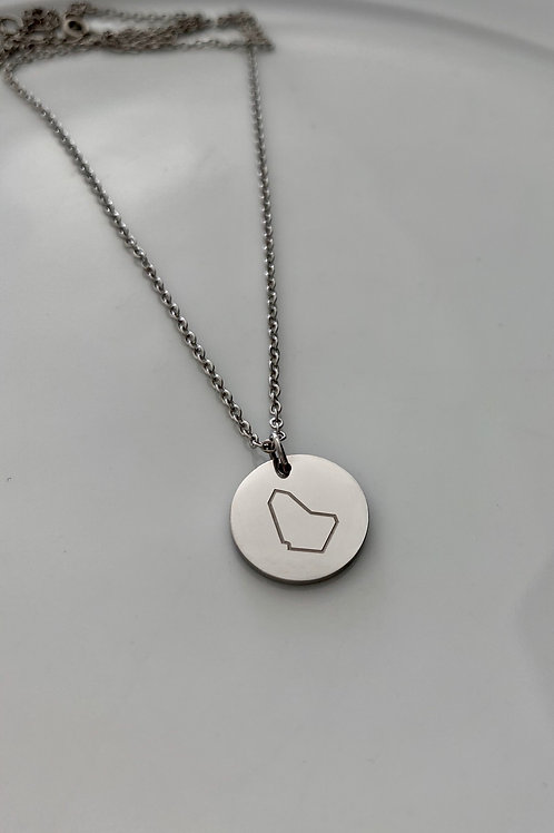 Disc necklace with Banz logo map engraved pendant #12