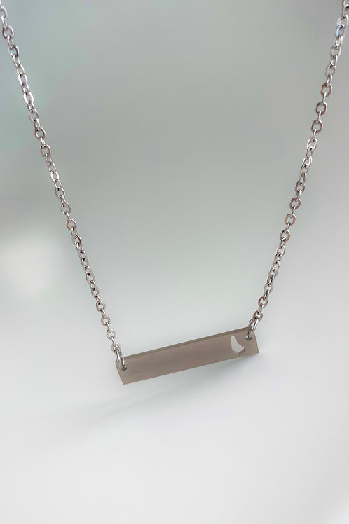 Plate necklace with cutout map pendant (Silver) #8