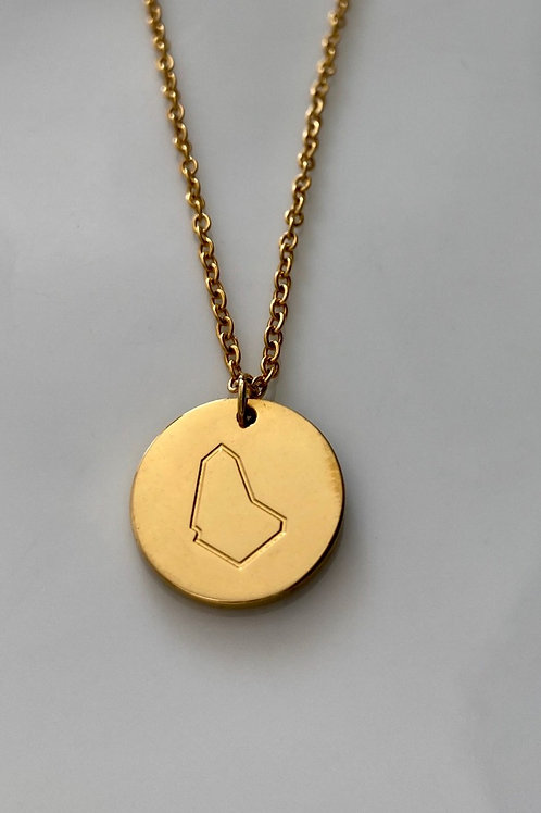 Disc necklace with Banz logo map engraved pendant (Gold) #11
