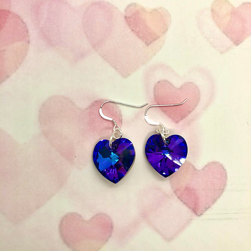 Sterling silver earring hooks with large Vitrail Swarovski hearts #10