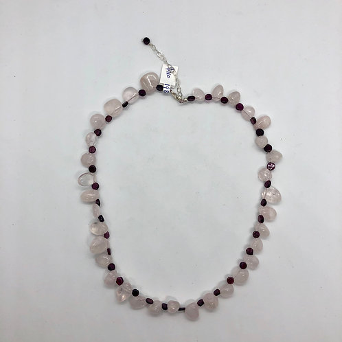"16"" rose quartz and garnet with sterling silver #37"