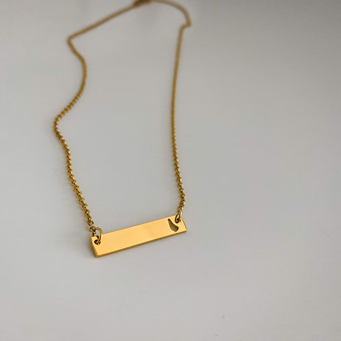 Plate necklace with cutout map pendant (Gold) #7