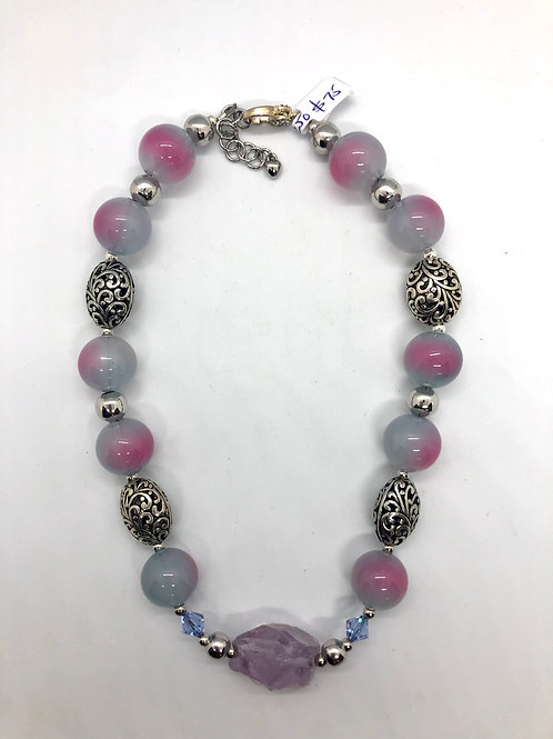 """16"""" lilac/fuscia acrylic rounds with silverplated focals and chain extender #39"""