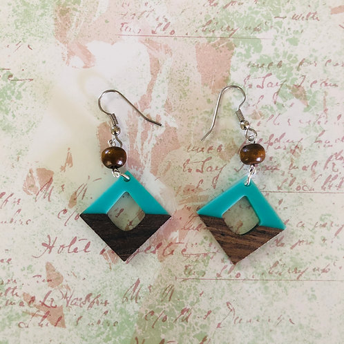 Stainless steel earring hooks, wood/resin aqua dangles #3