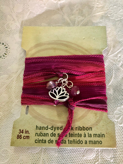 Hand-dyed silk ribbon wrap bracelet - Autumn with lotus flower focal drop #35