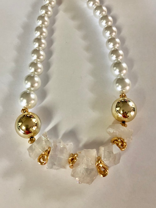 "18"" chunky glass white pearls with chunky crystal quartz with gold-plated bits"