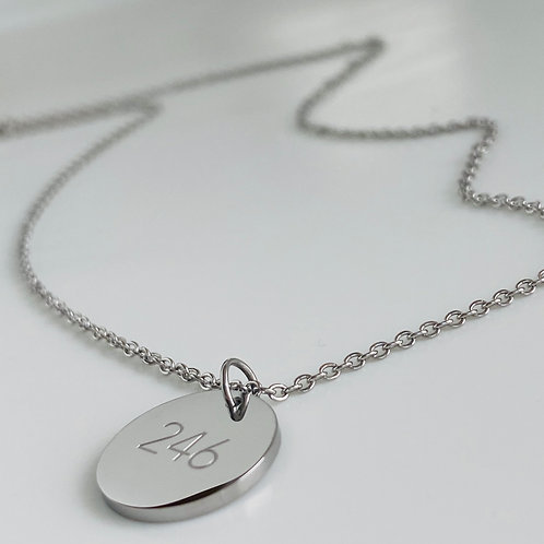 Disc necklace with '246' engraved pendant (Silver) #14