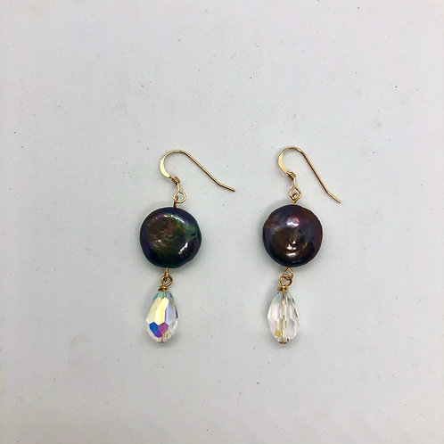 Gold-filled earrings, peacock coin freshwater pearl and AB Swarovaki crystal #2