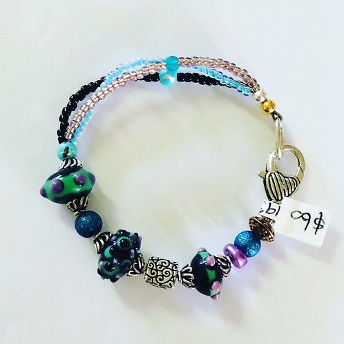 Mixed piece - purples greens and blue with plated clasp #23