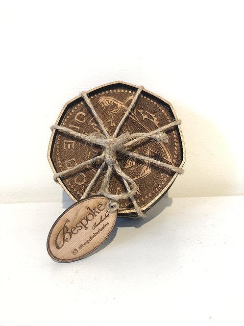 Handcrafted Barbadian silver dollar drink coasters. (4 coasters)