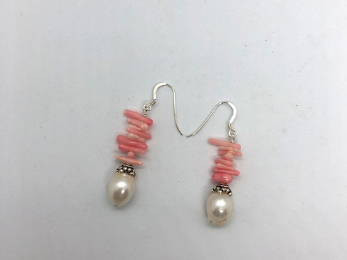 Sterling silver earring hooks, pink coral and white freshwater pearl #1