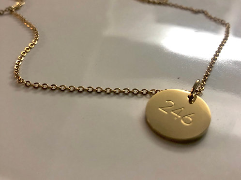 Disc necklace with '246' engraved pendant (Gold) #13