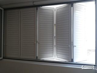 Plegable serie 35 con mallorquina plegable en Castellon / Folding doors serie 35 and Folding door sh