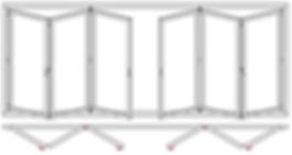 Plegables de aluminio, cerramientos plegables, bi folding, folding doors, perfiles plegables, puertas plegables