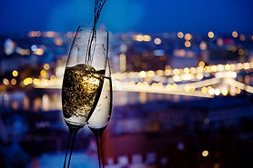 New year in the city - champagne glasses