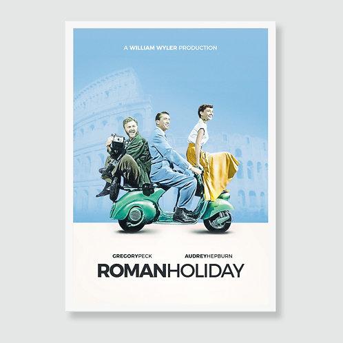 ROMAN HOLIDAY (Audrey Hepburn, Gregory Peck) Movie Art Print / Film Poster
