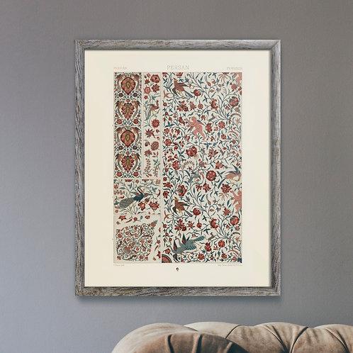 "Albert Racinet -  Persian Pattern (16"" x 20"" Rustic Framed Print) - Near Mint"