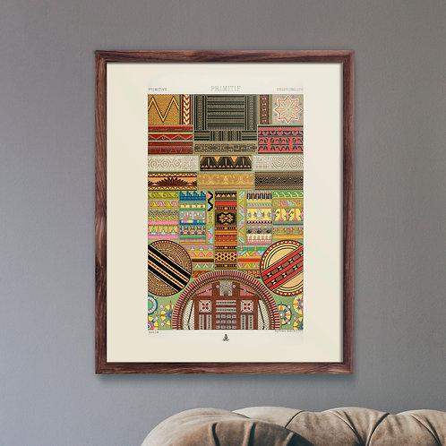 Framed Giclèe Art Print Mockup - Primitive Pattern Lithograph