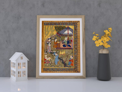 The Court Of Pir Budaq (Persian Miniature Painting)