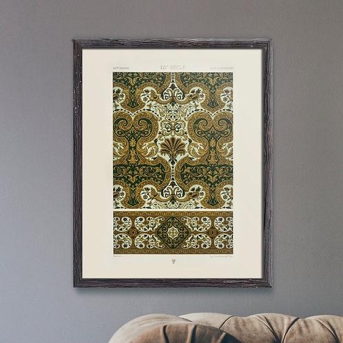 Framed Giclèe Art Print Mockup - Baroque Pattern Lithograph