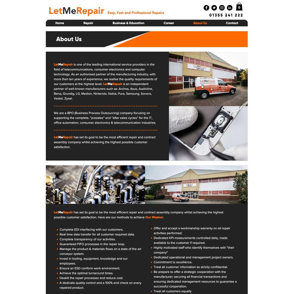 Let Me Repair UK Website Design