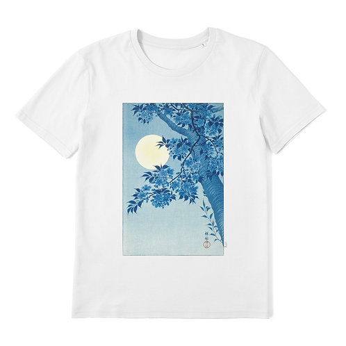 OHARA KOSON - Blossoming Cherry On A Moonlit Night - 100% Organic Cotton Unisex T-Shirt featuring Japanese Woodblock Art