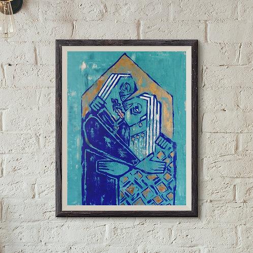Framed Giclèe Art Print Mockup - Acrylic on Canvas Contemporary Painting