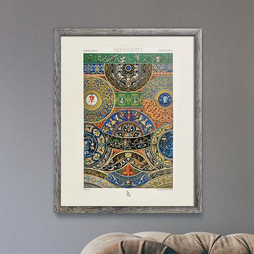 Framed Giclèe Art Print Mockup - Renaissance Pattern Lithograph