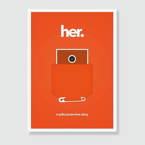 HER (Spike Jonze, Joaquin Phoenix) Movie Art Print / Film Poster