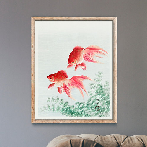 Framed Giclèe Art Print Mockup - Japanese Goldfish Woodblock Illustration