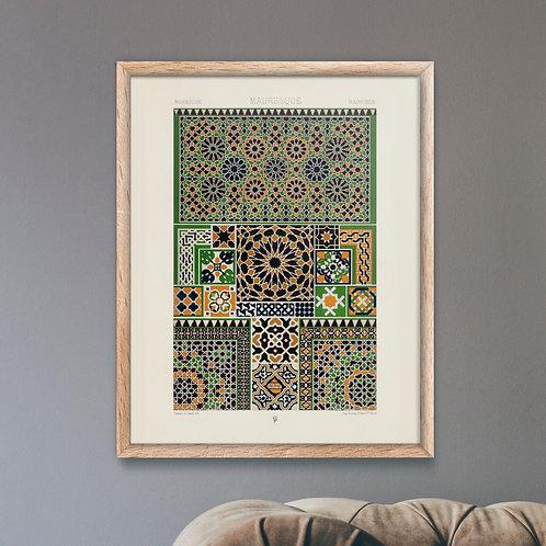 Framed Giclèe Art Print Mockup - Moresque Pattern Art Print