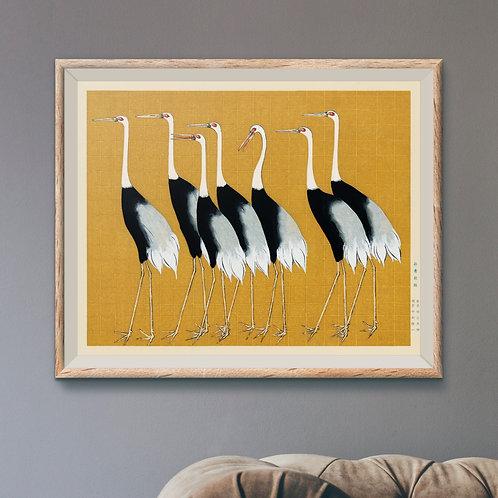 Framed Giclèe Art Print Mockup - Japanese Cranes Woodblock Illustration