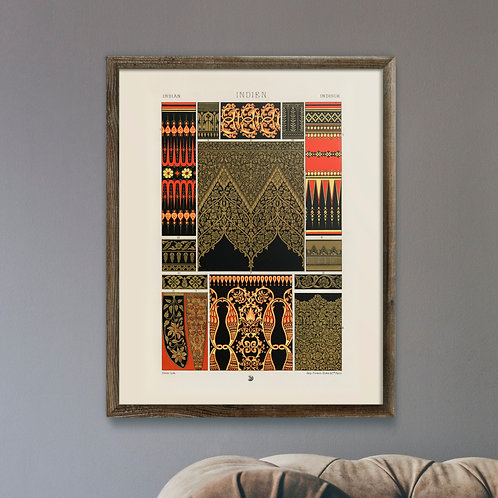 Framed Giclèe Art Print Mockup - Indian Pattern Lithograph