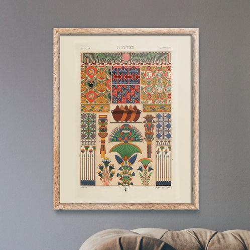 Framed Giclèe Art Print Mockup - Egyptian Pattern Lithograph