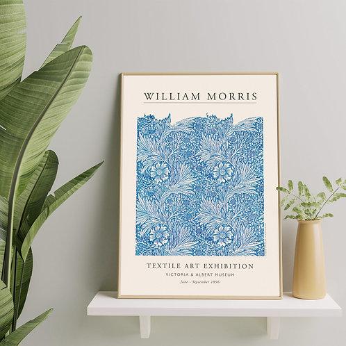 William Morris - Blue Marigold (Minimalist Exhibition Poster