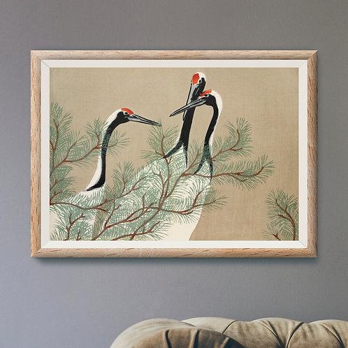Framed Giclèe Art Print Mockup - Japenese Woodblock Illustration
