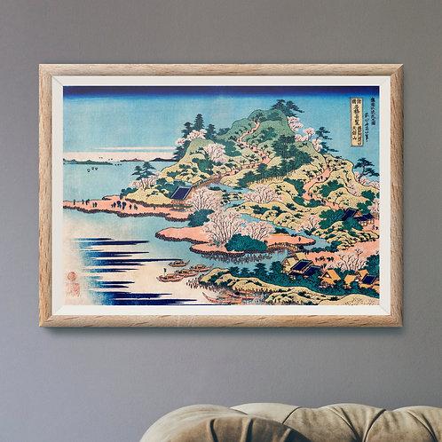 Framed Giclèe Art Print Mockup - Japanese Woodblock Illustration