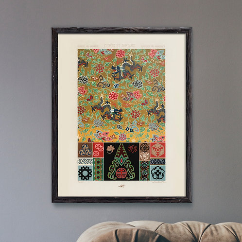 Framed Giclèe Art Print Mockup - Chinese & Japanese Pattern Lithograph