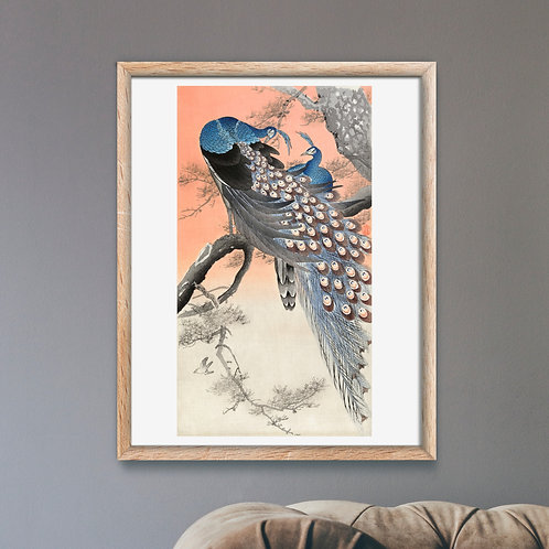 Framed Giclèe Art Print Mockup - Japanese Peacock Woodblock Illustration