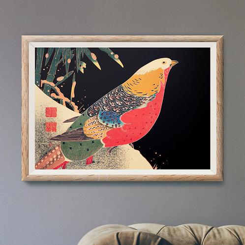 Framed Giclèe Art Print Mockup - Japanese Woodblock Ilustration