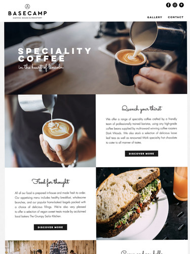 Basecamp Coffee House Lincoln Website Design