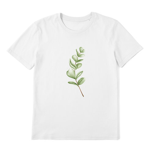 Illustrated Leaf - 100% Organic Cotton Unisex T-Shirt featuring Botanical / Plant Illustration Art