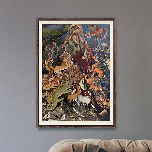 Framed Giclèe Art Print Mockup - Traditional Persian Illustration