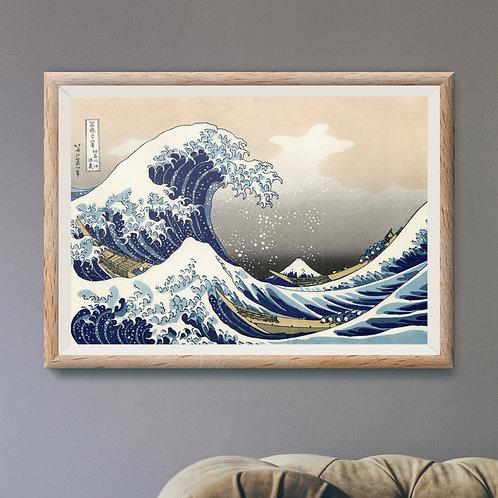 Framed Giclèe Art Print Mockup - Japanese Great Wave Woodblock Illustration