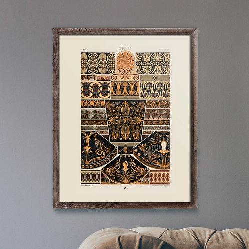 Framed Giclèe Art Print Mockup - Greek Pattern Lithograph