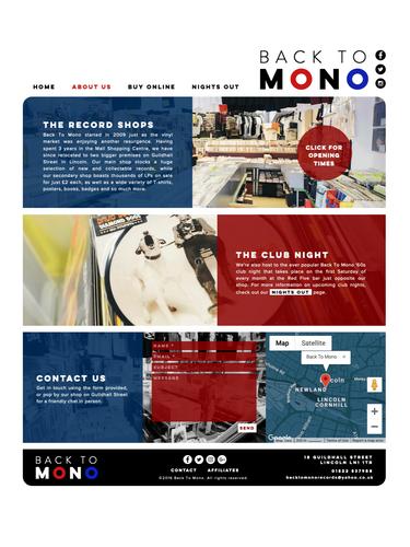 Back To Mono Records Lincoln Website Design