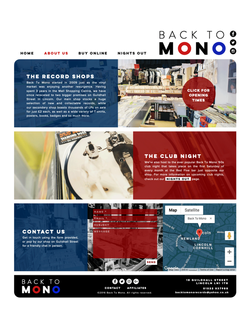 Back To Mono Records Lincoln Website Design