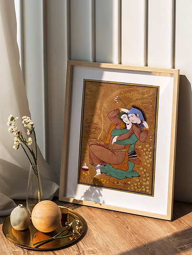 The Lovers by Reza Abbasi (Traditional Persian Miniature Painting)