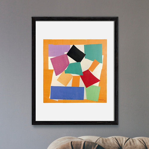 Framed Giclèe Art Print Mockup - Abstract Expressionist Cut-Out